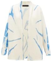 The Elder Statesman Tie-dye Cashmere Cardigan - Womens - Blue White
