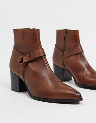 ASOS DESIGN heeled chelsea boots with pointed toe in brown leather with strap detail