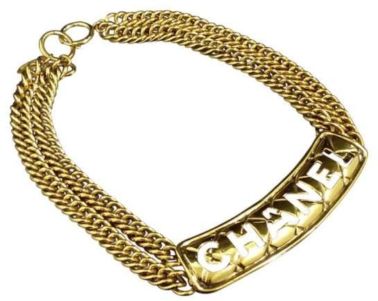 Chanel Gold-Tone Metal Logo Motif Choker Pendant Necklace