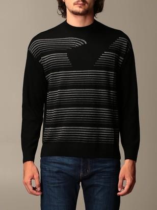 Emporio Armani Sweater In Virgin Wool With Big Eagle Logo