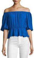 Amanda Uprichard Cora Off-the-Shoulder Top, Royal Blue