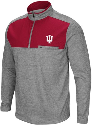 Colosseum Men's Heathered Gray Indiana Hoosiers Big & Tall Alligators Are Ornery Quarter-Zip Pullover Jacket