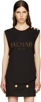 Balmain Black Crystal Logo T-Shirt