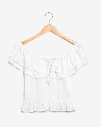 Express Shadow Stripe Off The Shoulder Lace-Up Top