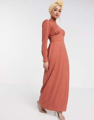 ASOS DESIGN maxi tea dress with buttons in spot