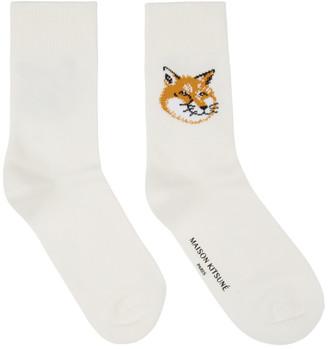 MAISON KITSUNÉ Off-White Fox Head Socks