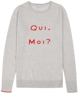 Ille De Cocos Qui Moi Merino Sweater Pebble Grey & Red