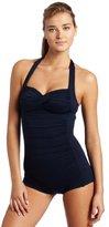 Seafolly Women's Core Boyleg One Piece Swimsuit, Indigo,6 US 10 AU