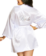 Dreamgirl White 'Bride' Robe & Tie-Back Chemise - Plus