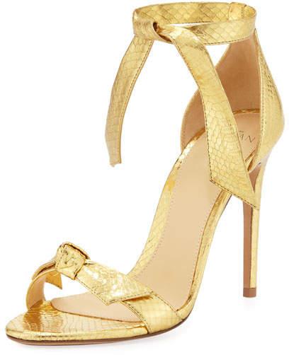 Alexandre Birman Clarita Metallic Snakeskin Sandal