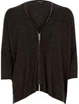 River Island Womens Grey zip through cardigan
