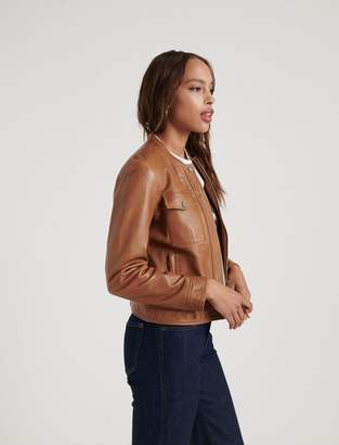 Lucky Brand Zip Front Leather Jacket