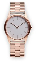 Uniform Wares C33 Quartz Watch with Grey Analogue Dial with Rose Gold Stainless Steel Strap