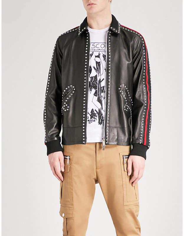 DSQUARED2 Studded leather bomber jacket