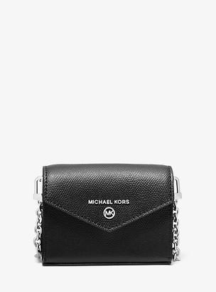 MICHAEL Michael Kors MK Extra-Small Crossgrain Leather Convertible Card Case - Black - Michael Kors