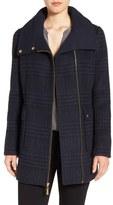 Ellen Tracy Asymmetrical Plaid Coat