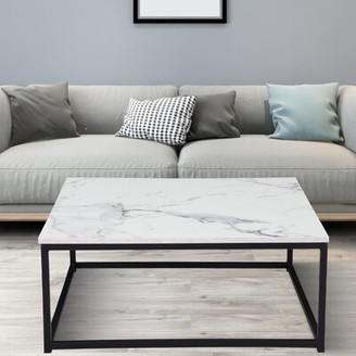 17 Stories Allis Frame Coffee Table Color: Faux Marble