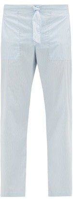 E. Tautz Hairline-striped Cotton-poplin Pyjama Trousers - Mens - Blue