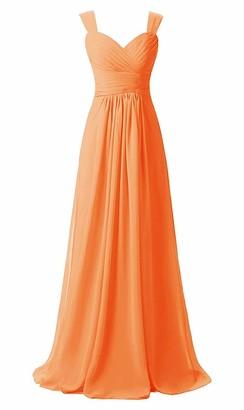 SongSurpriseMall Women's Elegant V Neck Floor Length Empire Chiffon Long Bridesmaid Dresses Orange EU36
