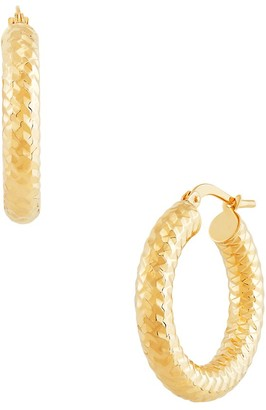 Saks Fifth Avenue Made In Italy 14K Yellow Gold Textured Tube Hoop Earrings