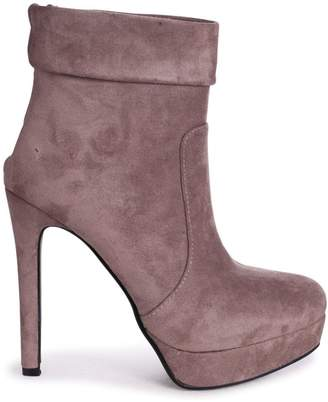 Linzi FAITH - Mocha Suede Platform Boot With Stiletto Heel And Ankle Cuff Detail