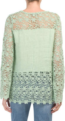 Made In Italy Lace Trim Blouse
