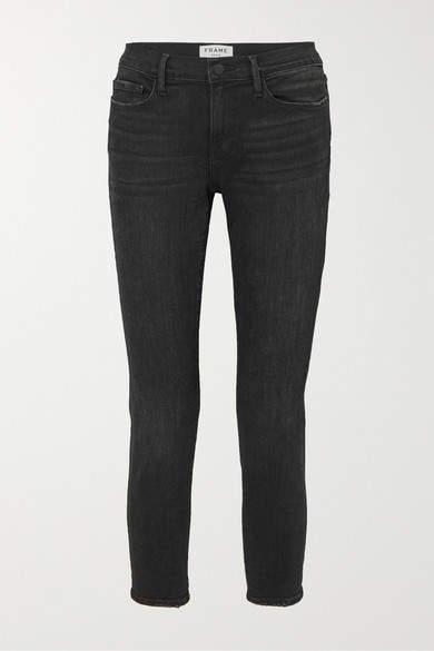 Frame Le Garcon Cropped Slim-leg Jeans - Black