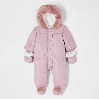 River Island Baby Pink hooded pom snowsuit