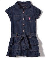 U.S. Polo Assn. Dark Denim Tiered Shirt Dress - Girls
