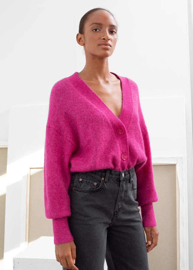 And other stories Alpaca Blend Puff Sleeve Cardigan