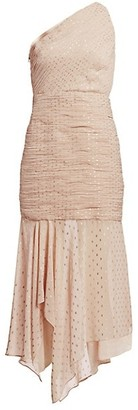 Halston One Shoulder Pleated Metallic Polka Dot Trumpet Dress