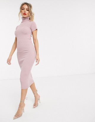 In The Style x Billie Faiers ribbed cap sleeve midi dress in pink