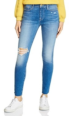 Frame Le Skinny De Jeanne Distressed Jeans in Madera Sax - 100% Exclusive
