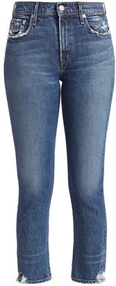 AGOLDE Toni Mid-Rise Straight-Leg Ankle Distressed-Hem Jeans