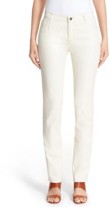 Lafayette 148 New York Waxed Denim Slim Leg Jeans