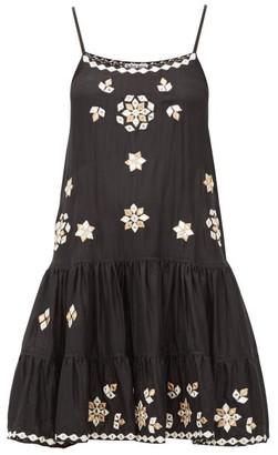 Juliet Dunn Mirror-embellished Silk Mini Dress - Womens - Black