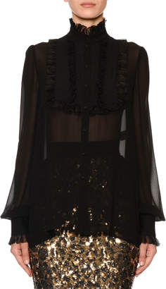 Dolce & Gabbana Mock-Neck Ruffled-Georgette Button-Front Blouse