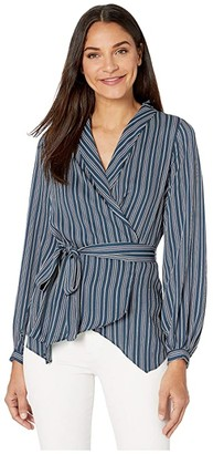 BCBGMAXAZRIA Wrap Long Sleeve Top (Midnight Teal/Nouveau Pinstripe) Women's Clothing