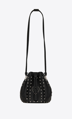 Saint Laurent Bucket Bag Talitha Medium Bucket Bag In Smooth Leather With Python-embossed Lacquered Leather Heart And Studs Black Onesize