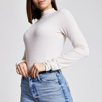 River Island Cream high neck brushed rib top