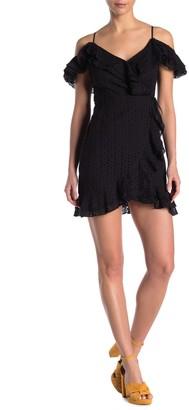 Do & Be Eyelet Cold Shoulder Wrap Style Mini Dress