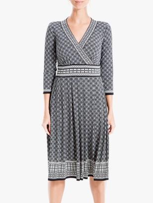 Max Studio Tile Print Wrap Dress, Black