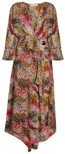 Marni Mist Print Silk Crepe Wrap Dress - Womens - Red Print