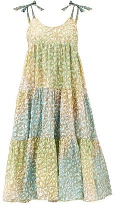 Juliet Dunn Tie-dye Tiered Leopard-print Cotton Dress - Green Print