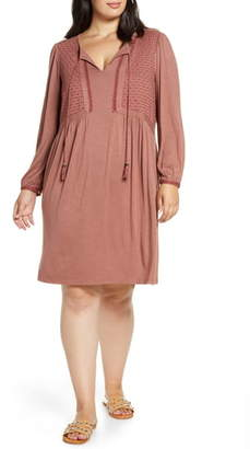 Daniel Rainn Embroidered Long Sleeve Knit Dress