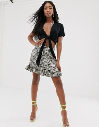 NA-KD Na Kd leopard print mini skirt in brown