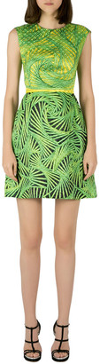 Peter Pilotto Green and Yellow Printed Silk Sleeveless Gia Sheath Dress S