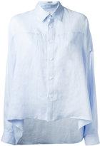 Y's cape effect shirt - women - Linen/Flax - 2