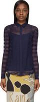 Burberry Bright Navy Sheer Striped Silk Chiffon Shirt