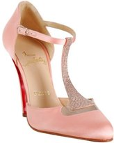 light pink satin 'Caberet' rhinestone t-strap pumps
